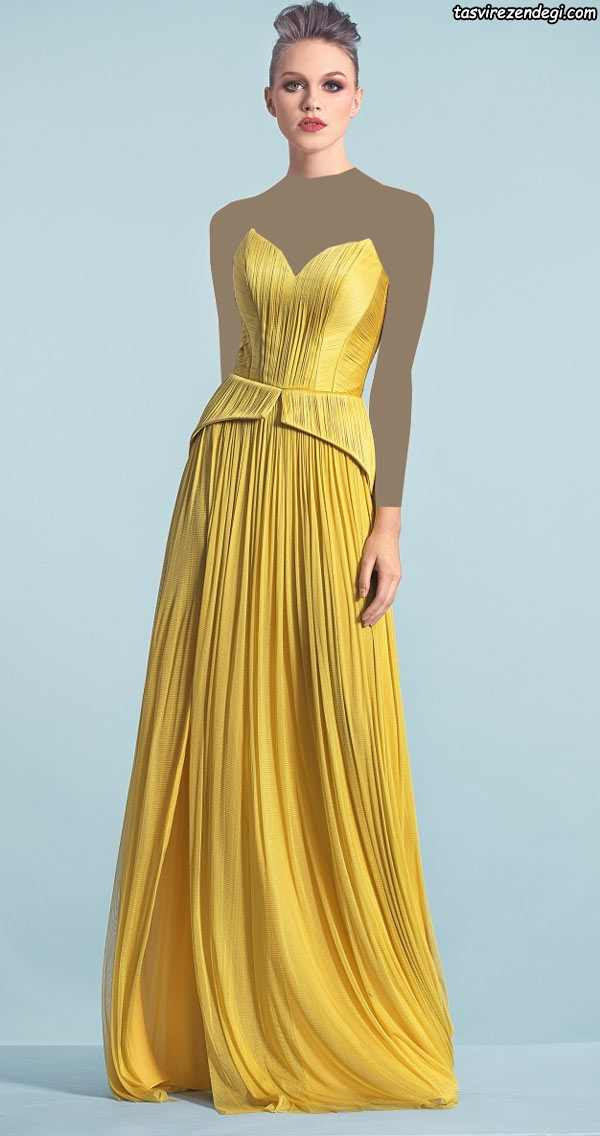 لباس مجلسی دکلته زرد چین دار