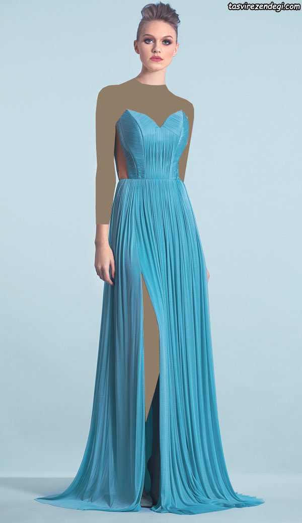 مدل چدید لباس شب دکلته آبی