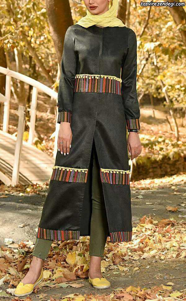 مدل مانتو سنتی زیتونی سال 97