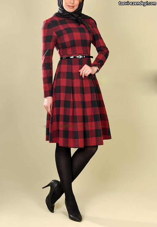 لباس مجلسی مخمل قرمز شیک مانتو بهاره چهارخانه , مانتو عید دخترانه