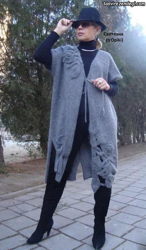 مدل مانتو بافتنی بلند مجلسی شیک