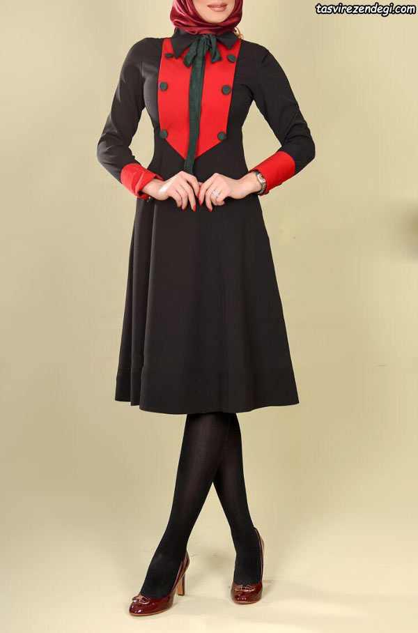 مدل مانتو مجلسی مشکی و قرمز , مانتو دخترانه مجلسی