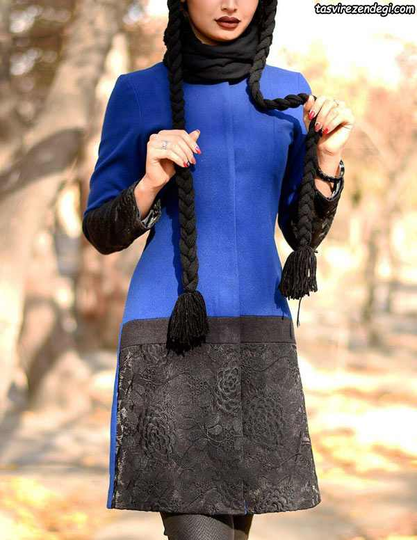 مدل مانتو مجلسی عید مشکی آبی