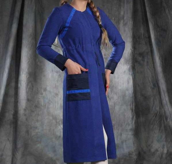 مدل مانتو عید جدید بلند آبی تیره