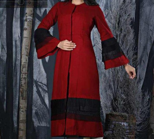 مدل مانتو عید جدید قرمز مشکی بلند