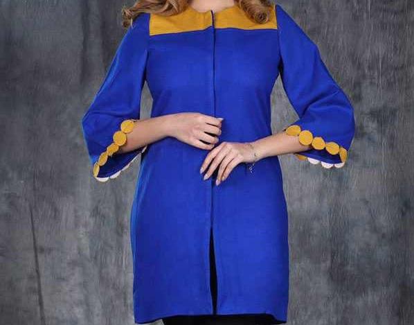 مدل مانتو عید جدید آبی کوتاه