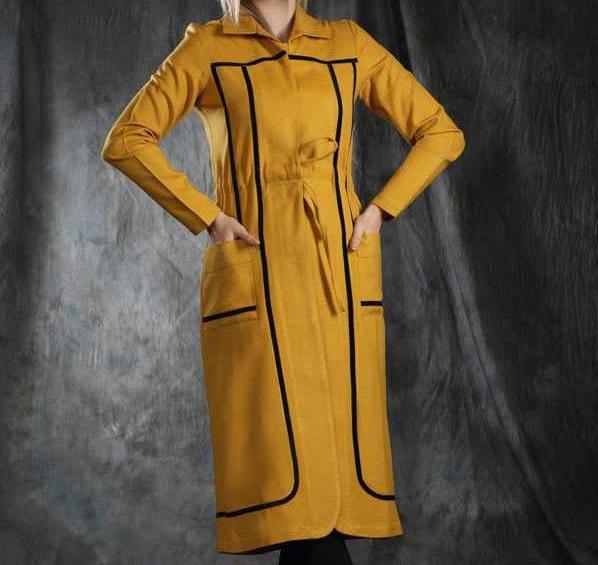 مدل مانتو عید جدید بلند خردلی رنگ