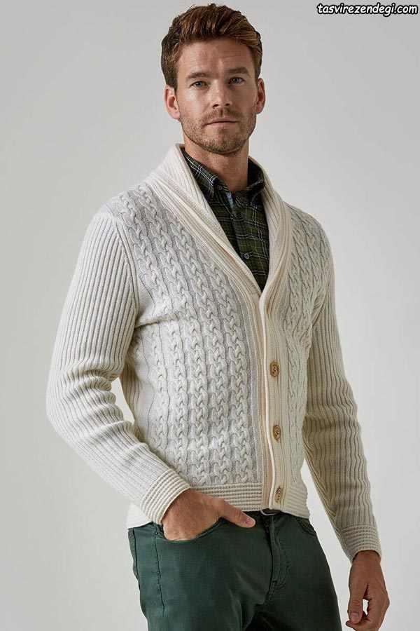 لباس دستباف مردانه ژاکت جلو باز شیری