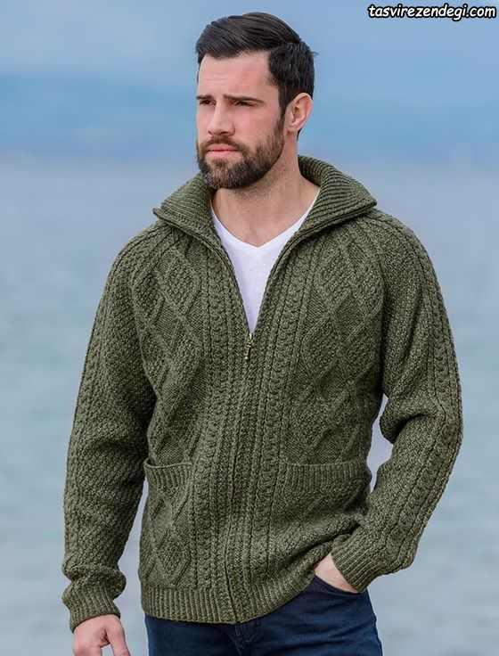 لباس دستباف مردانه پلیور سبز زیپ دار