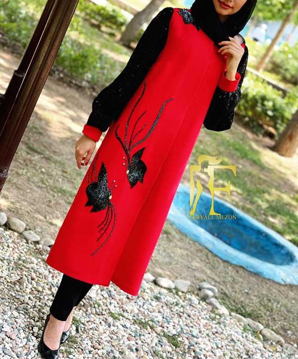 مدل مانتو مجلسی جدید دخترانه قرمز مشکی