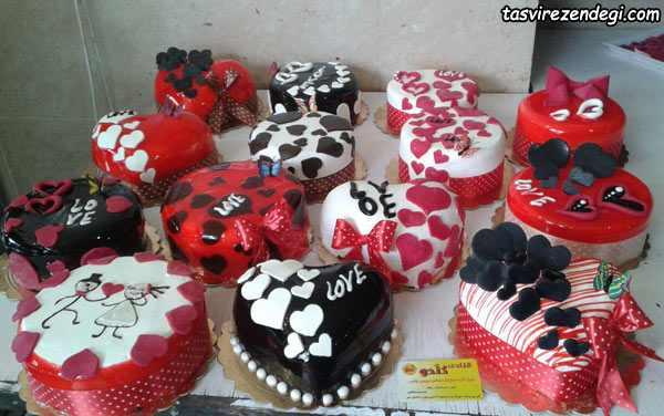 ایده های تزیین کیک قلبی شکل برای ولنتاین و سپندارمذگان