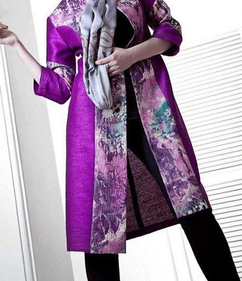 مدل مانتو بنفش عید , مانتو بنفش رنگ سال
