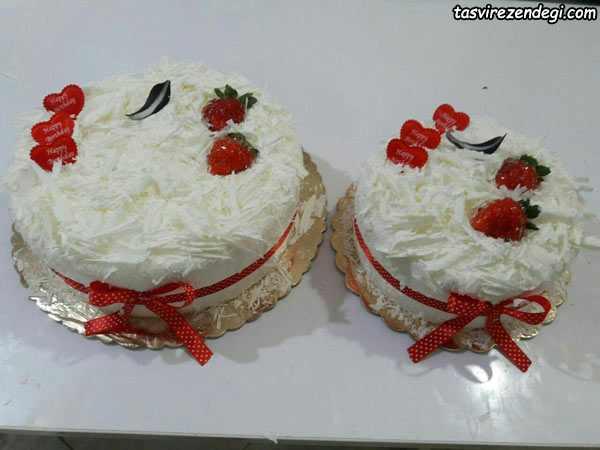نمونه های تزیین کیک ولنتاین با فوندانت و سس براق فرانسوی