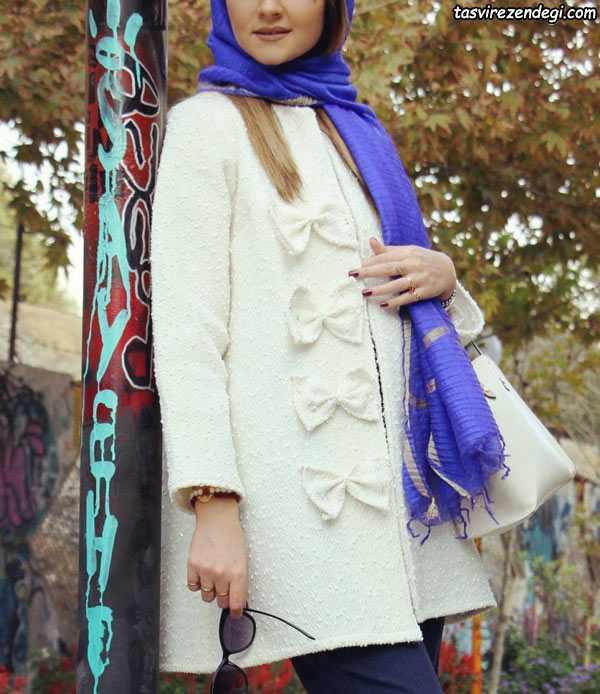 مدل جدید مانتو زمستانه , مانتو سفید زمستانی