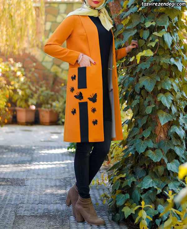 مدل مانتو مجلسی نارنجی خرده کار مشکی