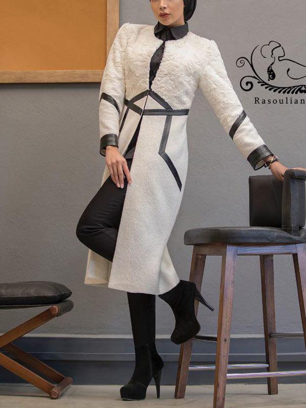 مدل مانتو زمستانی سفید مجلسی