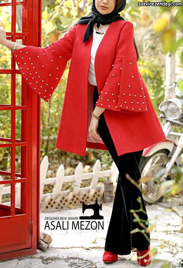 مدل مانتو زمستانی مجلسی قرمز