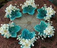 تزیین ظرف سفالی با گل کریستالی