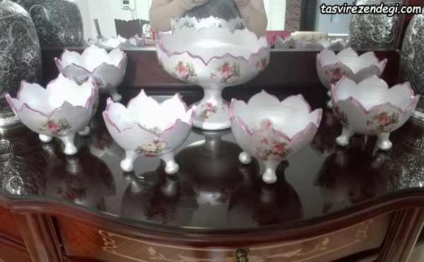 دکوپاژ ظروف هفت سین سفالی