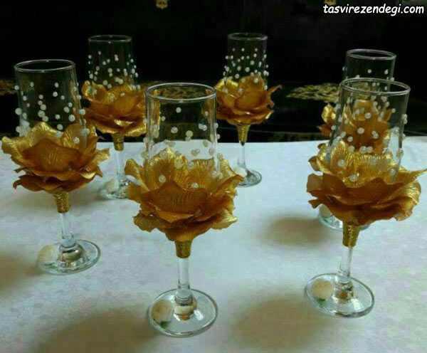 تزیین ظروف هفت سین با گل های کریستالی