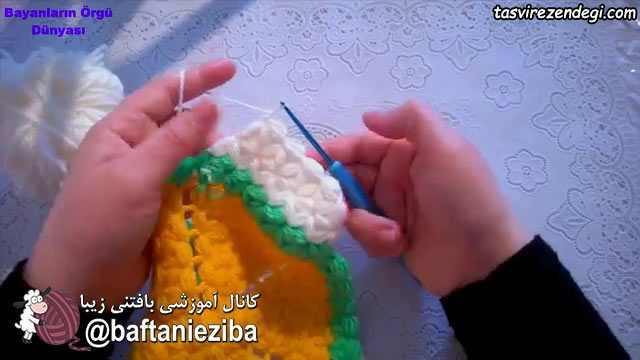 آموزش بافت رومیزی گل نیلوفر