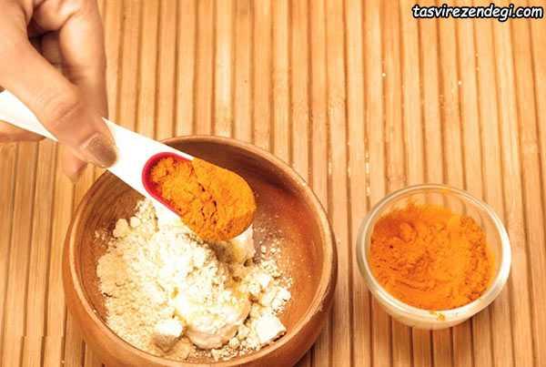 کاهش چین و چروک صورت , آرد نخود و زردچوبه و شیر