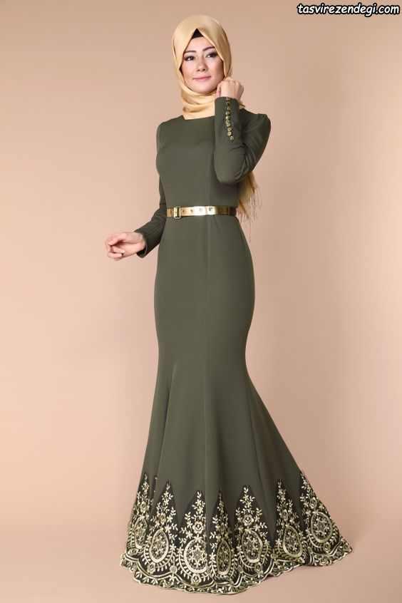 لباس مجلسی پوشیده بلند ماشی رنگ