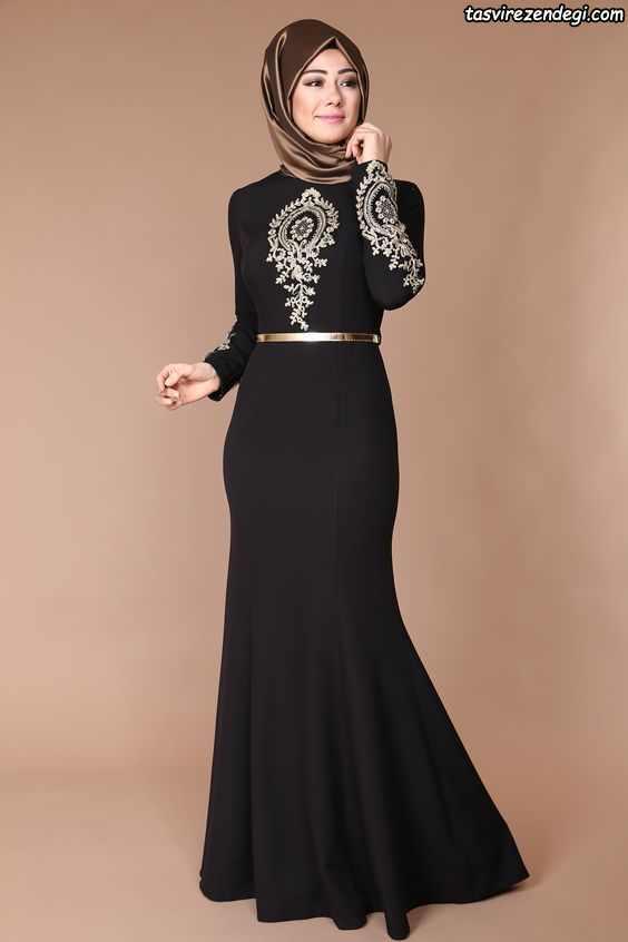 مدل لباس مجلسی پوشیده گلدوزی شده