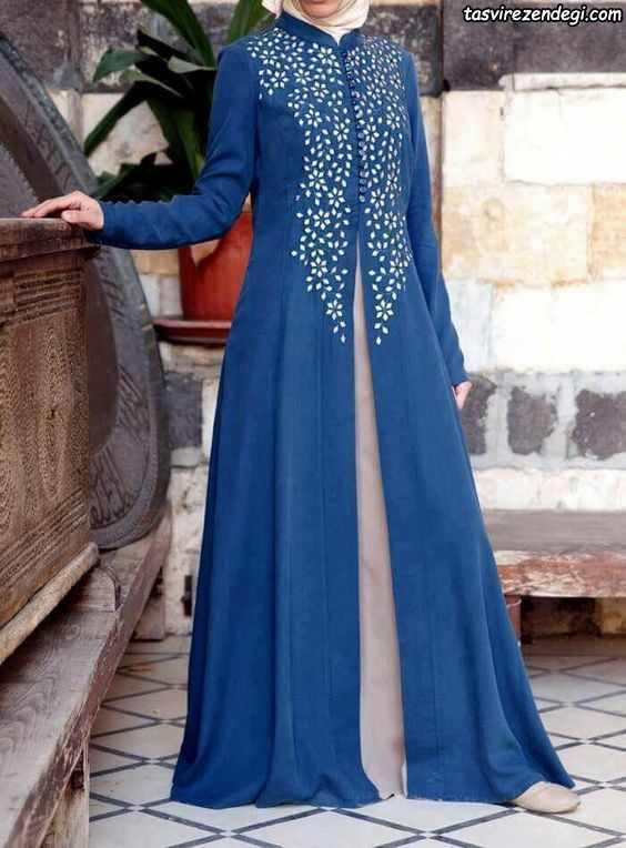 مانتو پوشیده ایرانی بلند آبی رنگ