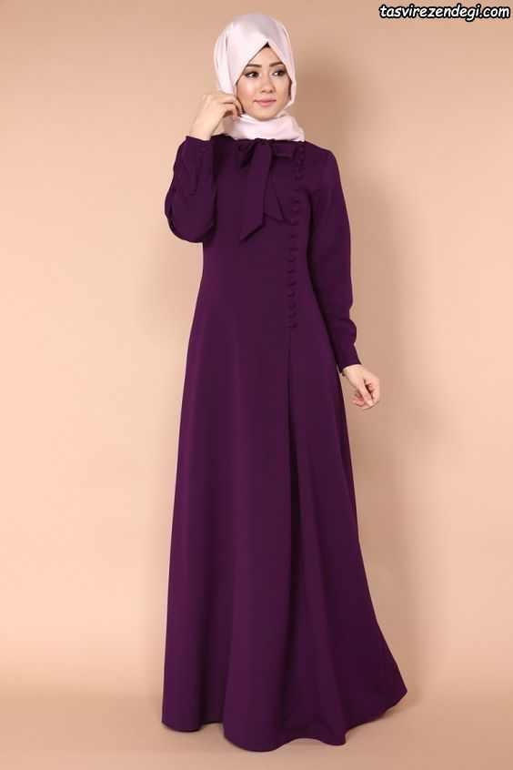 مانتو اسلامی بلند بنفش , مدل مانتو پوشیده