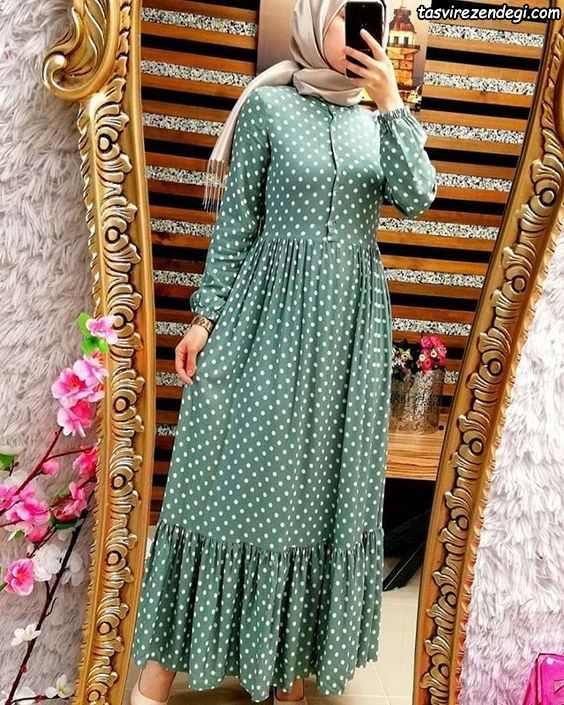 مدل مانتو خال خال دخترانه بلند , مانتو اسلامی