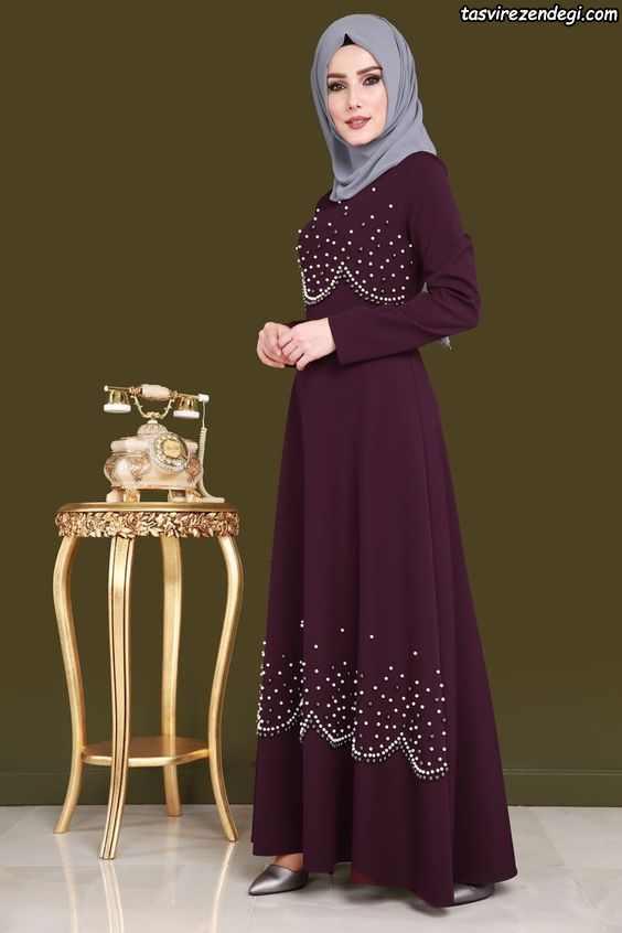 مدل لباس مجلسی پوشیده بنفش مروارید دوزی شده