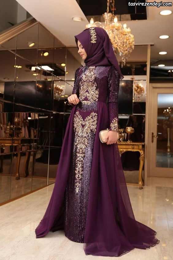 مدل لباس مجلسی پوشیده بنفش شیک