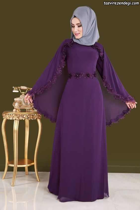 مدل لباس مجلسی پوشیده بنفش شنل دار