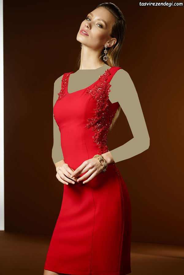 مدل لباس مجلسی دخترانه 2018 قرمز کوتاه