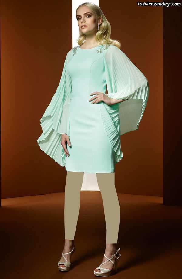 مدل لباس مجلسی دخترانه 2018 , پیراهن حریر آستین پلیسه