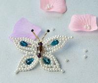 آموزش ساخت سنجاق سینه پروانه مرواریدی