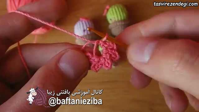 آموزش قلاب بافی , بافت شکوفه کوچک