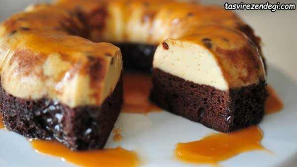 کیک کاراملی با پایه کیک شکلاتی