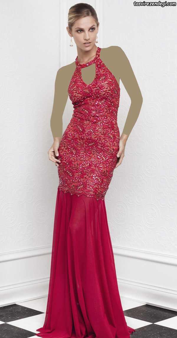 مدل لباس مجلسی زنانه 2018 , پیراهن گیپور قرمز
