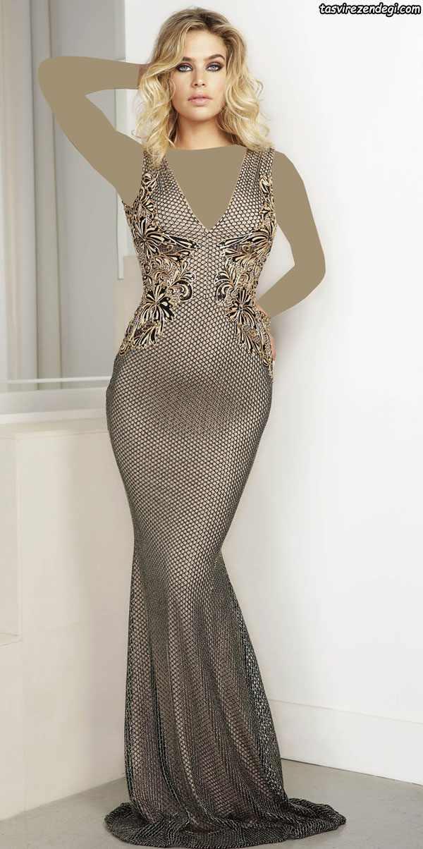 مدل لباس مجلسی طلایی رنگ , مدل لباس شب