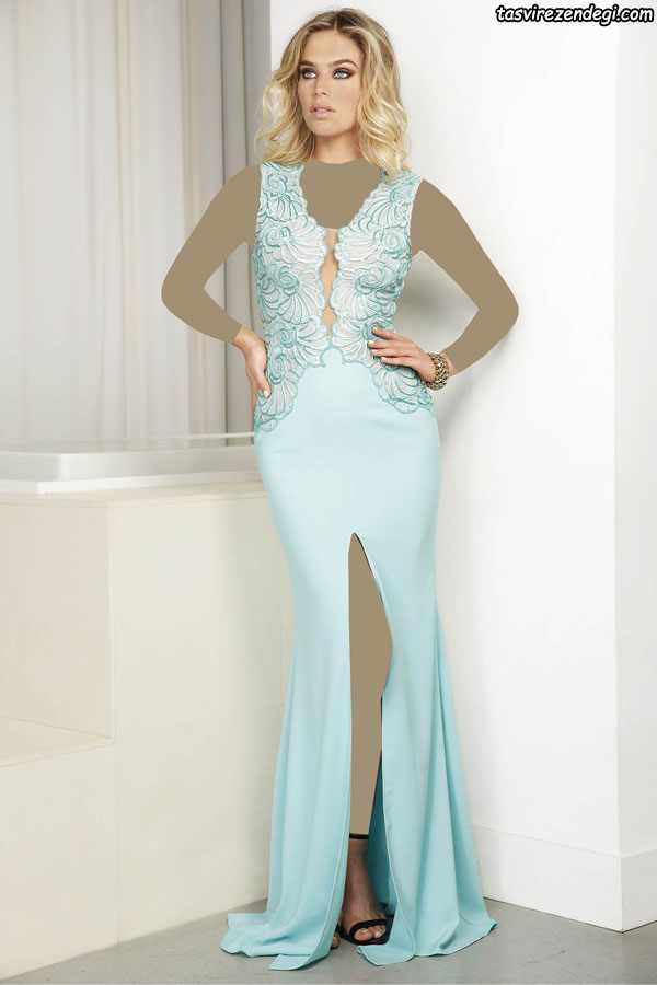 مدل لباس مجلسی بلند , لباس شب حریر آبی روشن