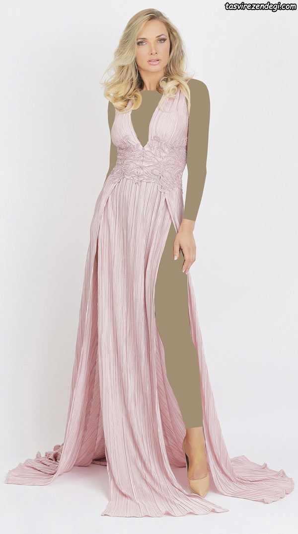 مدل لباس مجلسی صورتی روشن بلند , مدل لباس شب