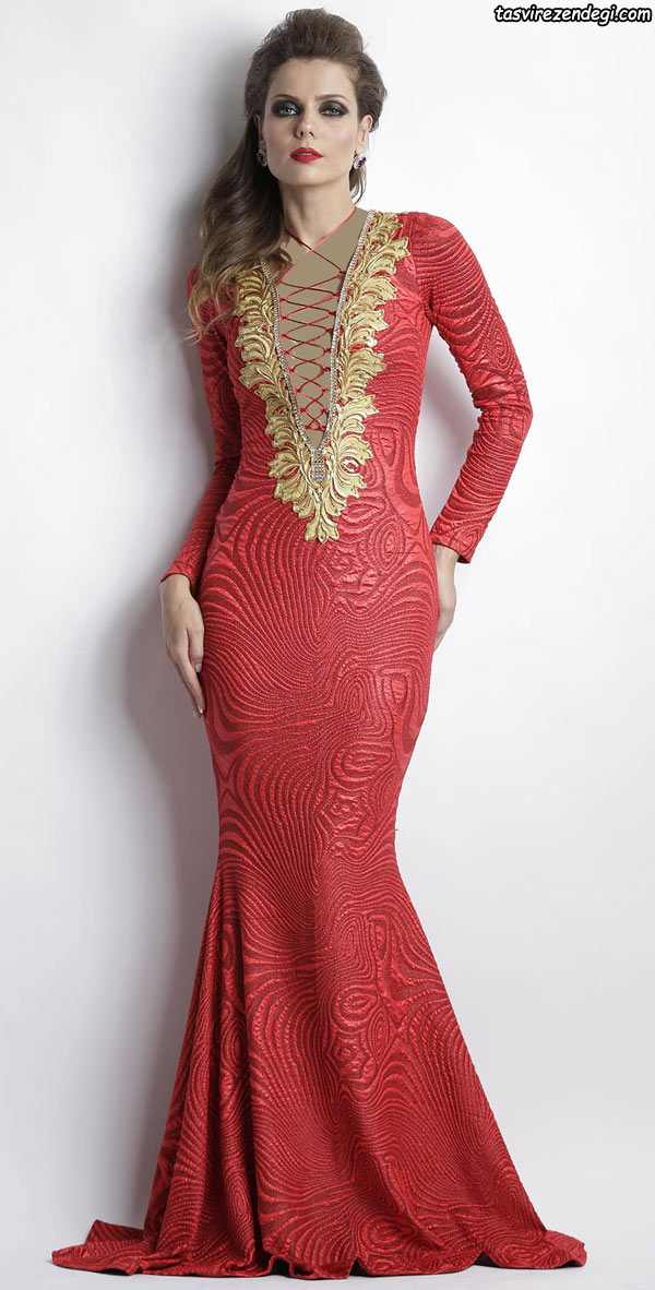 مدل لباس مجلسی زنانه 2018 , پیراهن آستین بلند قرمز و طلایی