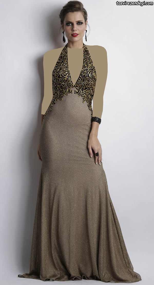 مدل لباس مجلسی بند گردنی , مدل لباس شب