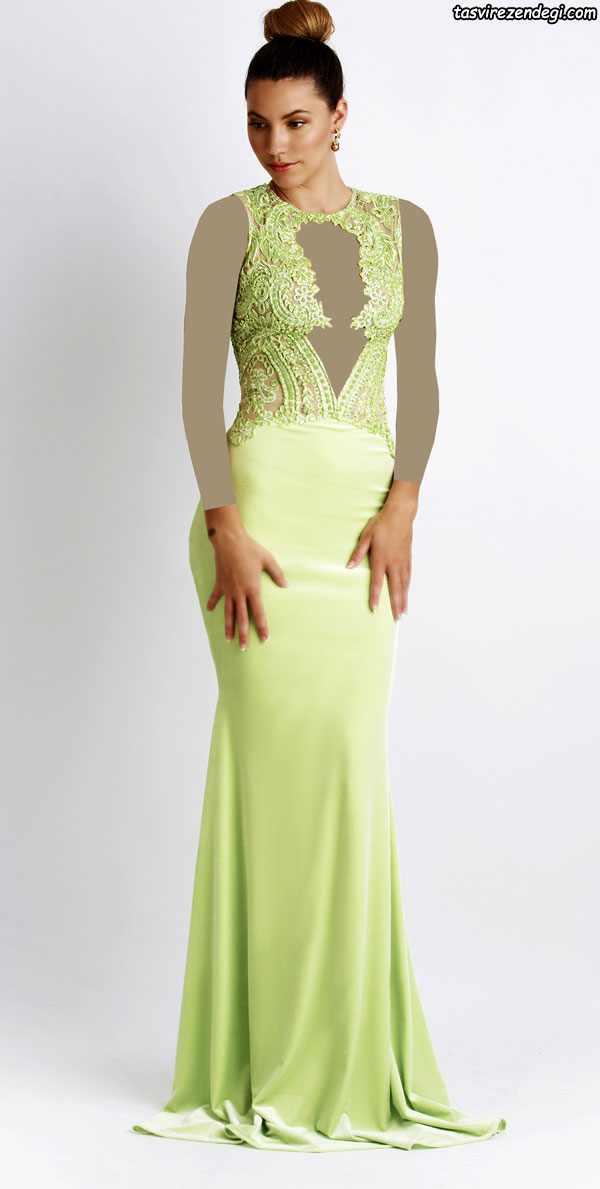 مدل لباس مجلسی لیمویی بلند , مدل لباس شب
