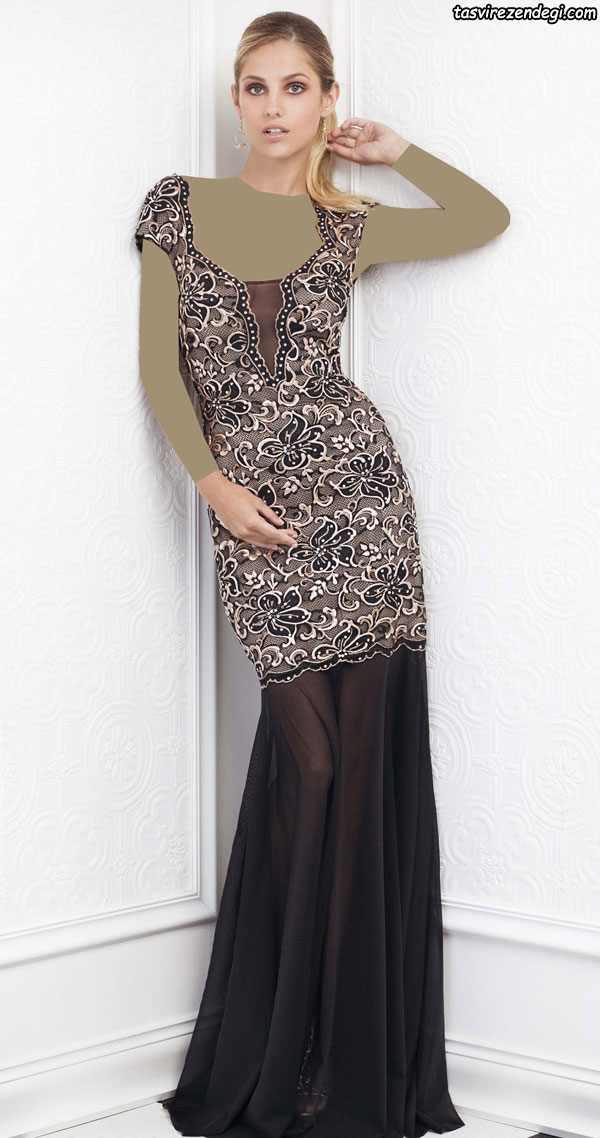 مدل لباس مجلسی زنانه 2018 , پیراهن گیپور مشکی