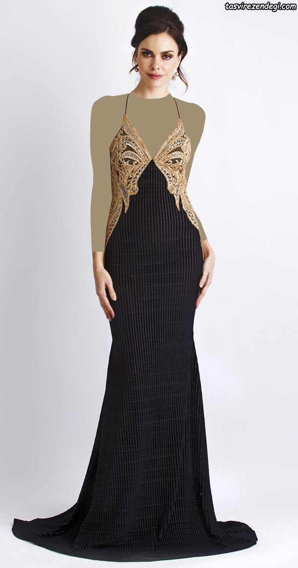 مدل لباس مجلسی مشکی و طلایی دو بندی, لباس شب