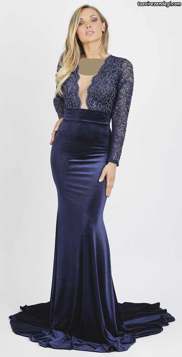 مدل لباس مجلسی آستین بلند سرمه ای , مدل لباس شب