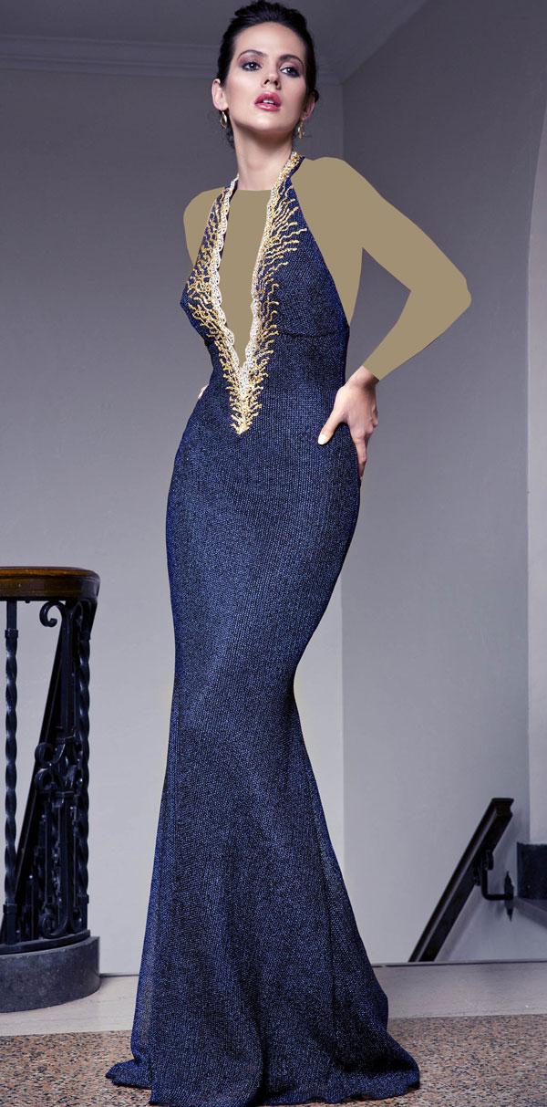 لباس مجلسی کار شده بند گردنی دامن مدل ماهی